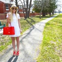 Dress, Wedges, Handbag: Michael Kors